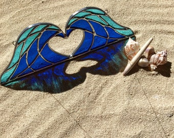 Handmade Crashing Waves Heart Stained Glass