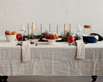 Striped Linen Tablecloth. SALE.