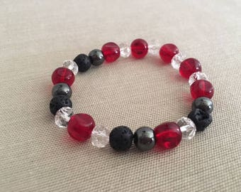 Merry and Bright - Aromatherapy Essential Oil Diffuser Bracelet, Lava Beads, Crystal and Hematite