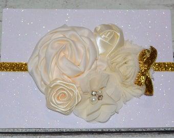 Ivory and Gold Headband,Baby Headband,Ivory Vintage Headband,Ivory Flower girl Headband,Ivory Flower Headband,Bridal Headbands