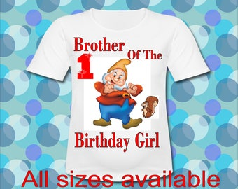 Easy Iron On Transfer Paper Any Saying Brother of the Birthday Girl Bashful Dwarf T shirt Transfer Three Sizes Paper Transfer Decal