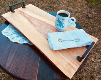 Cypress Wood Serving Tray Rough Cut with Live Edge and Cast Iron Handles FREE SHIPPING