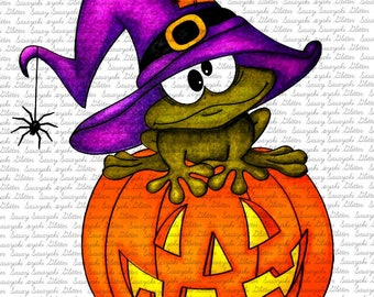 Image #119 - Witch Frog- Digital Stamp by Naz - Sasayaki Glitter. Line art only- Black and White