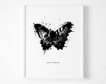 Black and White Abstract Butterfly Wall Art, Butterfly Art Print, Watercolor Butterfly, Black and White Wall Art, Butterfly Print