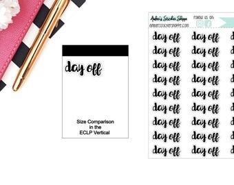 Cursive Day Off Headers Labels Planner Stickers
