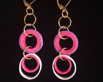 Pink and purple paper quilled circle dangle earrings