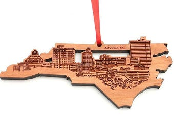 Asheville North Carolina State Cut Out City Skyline Ornament - Asheville Skyline City Ornament Solid Black Cherry Wood