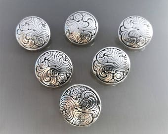 6 round buttons 17mm metal color blackened silver