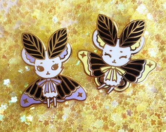 Spooky MouseMoth Pair - Set of Two Hard Enamel Lapel Pins