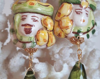 Earrings with ceramic heads Caltagirone, silver Peridot and drops