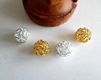 Set of 4 beads mingled openwork silver metal and 16 mm gold wire