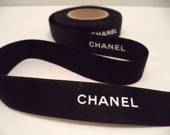 "Chanel bold ribbon by the yard black with white logo 3/4"" wide gift wrapping or hair or crafts"