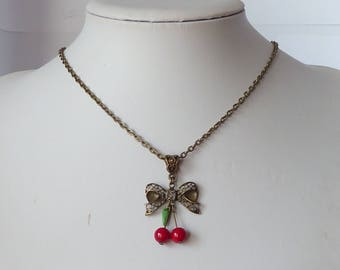 rockabilly cherries necklace pinup tattoo collier pin up cerises tatouage psychobilly