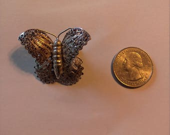 Vintage Sterling Silver Filigree Butterfly Pin