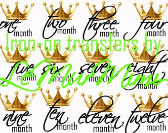 Little King Little Prince DIY Monthly Onesie Iron On Transfers Baby Boy's First Year Set Of 12 Monthly Bodysuit Transfers Baby Shower Gift