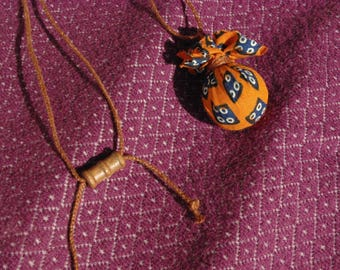 African fabric Ball pendant necklace