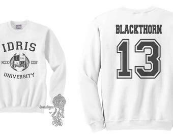 Blackthorn 13 Idris University Crew neck Sweatshirt White