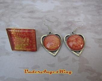 Galaxy Sun Earrings ang ring, Sun Earrings, Sun ring, solar surface, solar surface Earrings, solar surface Ring, solar earrings, Solar ring