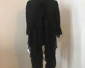 Exquisite Antique beaded Victorian Mourning/ Mantalet Cape with front Lappets and lace trim