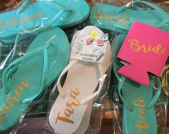 Mint Bridesmaid Flip flops, Custom Bridal Party flip flops, Bachelorette party favors, Wedding Dance shoes