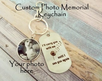 Memorial Keychain, Custom Photo In Memory Gift, In Memory of Loss of Loved One, In Sympathy Gift, Personalized Gift for Remembrance