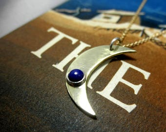 Crescent Lapis Lazuli Pendant, Brass Crescent Moon Lapis Pendant, Brass Lapis Pendant, Lapis Pendant, September Birthstone