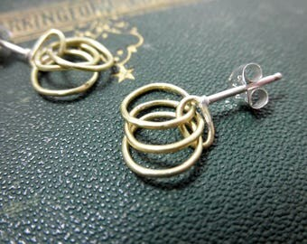 Brass Circle Earrings, Brass Links Earrings, Brass Rings Earrings, Brass Earrings, Geometric Earrings