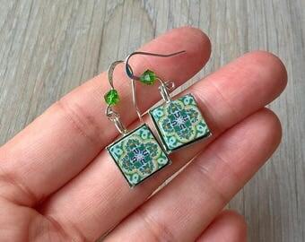 Turkish green tiles drop earrings, green earrings, Turkish tile earrings, Turkish jewelry, green Turkish tiles, tile earrings, tile jewelry