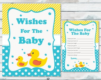 Mom vs dad quiz baby shower game pink and gray elephant baby rubber ducky wishes for the baby cards and sign baby well wishes printable cards stopboris Image collections