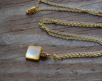 Yellow Dyed Mother of Pearl Genuine Gemstone Pendant Long Layering Necklace
