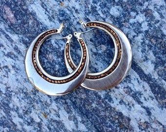 Embellished Hoop Earrings // Liz Claiborne Earrings // Bronze Beaded Metal Hoops