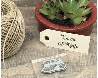 Pretty antique rubber stamp unmounted writing * life is beautiful * height 2 cm