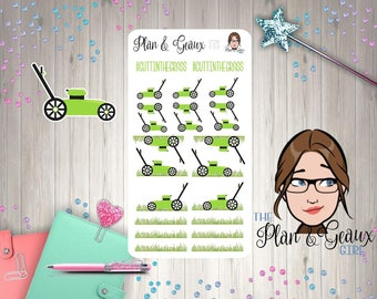 Cutting The Grass Planner Stickers, Lawn Mower Planner Stickers, Mow the Lawn, Mow Grass Happy Planner Stickers, Bullet Journal, FUN-039