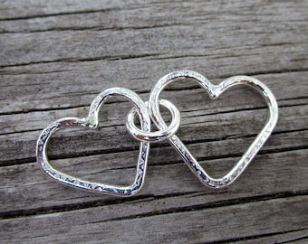 Mama metal / modular jewelry Two Hearts fine silver centerpiece // ready to ship