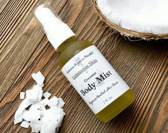 Organic Coconut Body Mist, Natural Skin Moisturizing Spray with Botanicals for Healthy Skin, Vegan