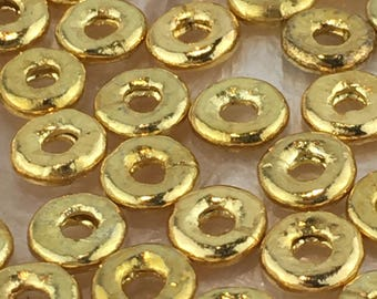 Thai Karen Hill Tribe Silver Plain Gold Vermeil Disc Bead
