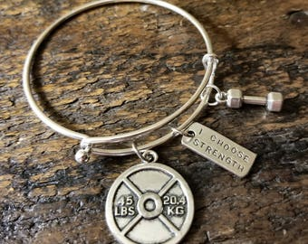 I Choose Strength Weight Plate Dumbbell Bangle Bracelet