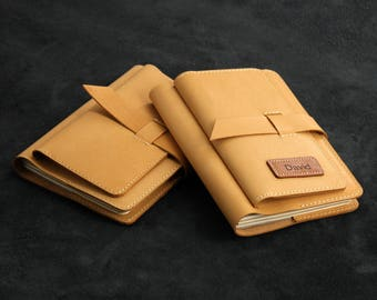 Leather A6 Notebook Leather Journal Personalised Notebook – Light Brown Goatskin