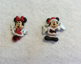 Mickey & Minnie Mouse Christmas Earrings Santa