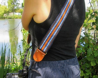 Handwoven Camera Strap, Extra Wide for Extra Comfort, Leather or Vegan Camera Strap Ends, Quick Release Options