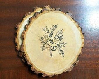 Mistletoe Coasters Natural Wood Slice Set of 2