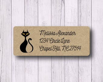 Halloween Labels - Black Cat Labels - Return Address Labels - Spooky - Fall Halloween Party Invitation Labels - White, Kraft, or Clear