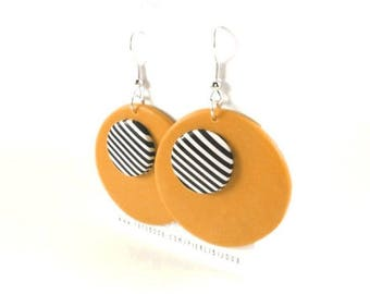 Black and white stripes and orange earrings