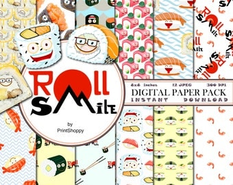 Roll Smile digital paper pack, Sushi papers, sushi background, Japanese Food Kawaii Pattern,Cute Japanese Food,Instant Download,kawaii sushi