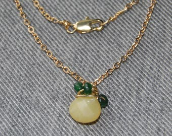 Yellow Opal/Green Jade/Pineapple Necklace/18k Gold Fill Chain/Dilcate/Long/Layering/Work/Classy/Simple/Summer Fashion/U of O/Go Ducks