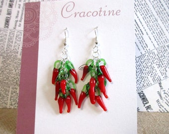 1 pair of peppers glass silver plated hook earrings