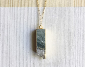 Amethyst Slice Druzy Necklace on delicate 14kg filled chain.