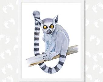 Lemur Art Print Nursery Printable Art Downloadable Print Safari Animals Nursery Decor Wall Art Instant Download Pictures Digital Watercolor