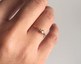 Dainty tiny diamond ring, minimal jewelry