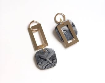 2ways marble squared earrings
